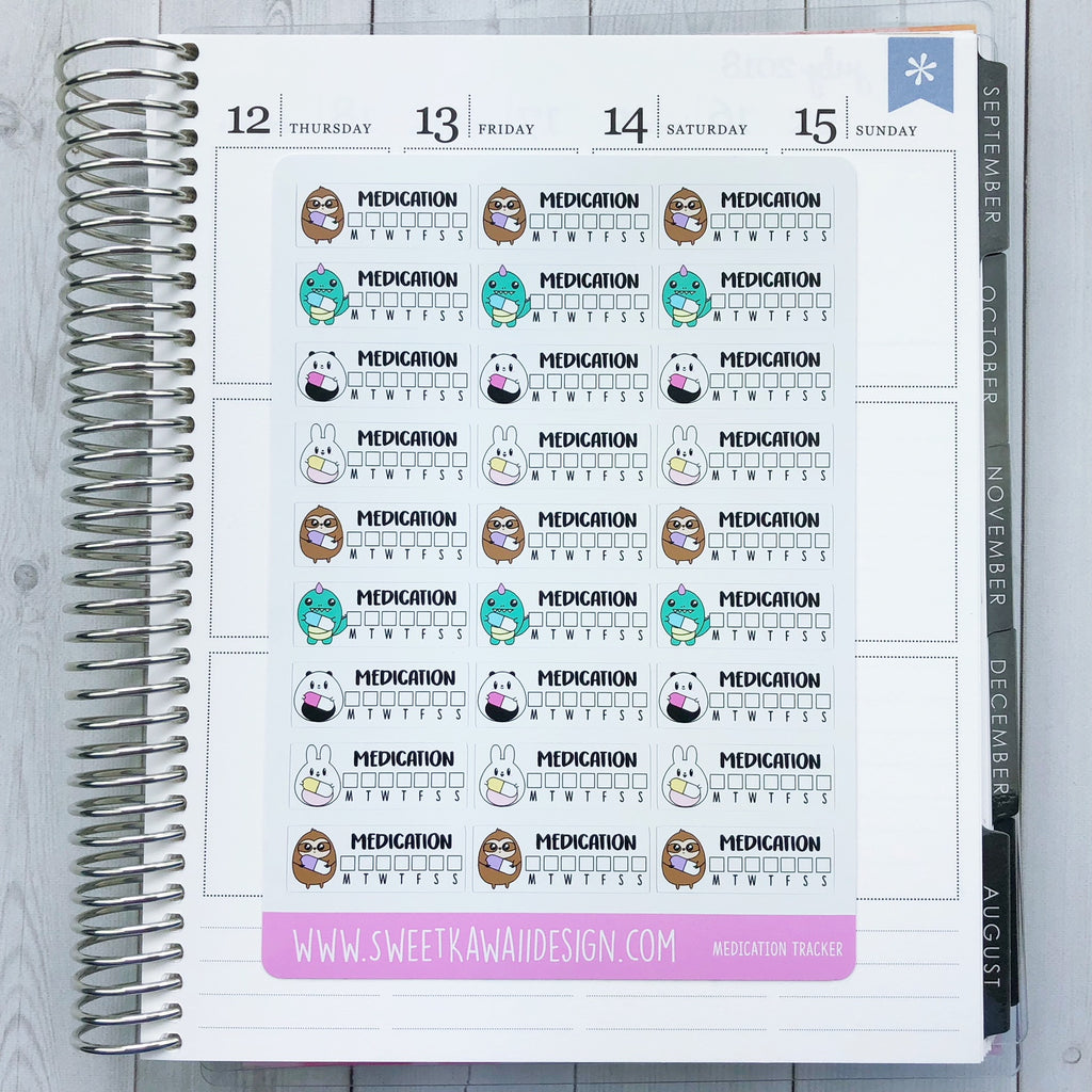 Kawaii Medication Tracker Stickers