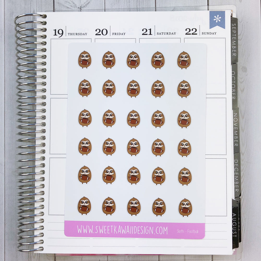 Kawaii Sloth Stickers - Football
