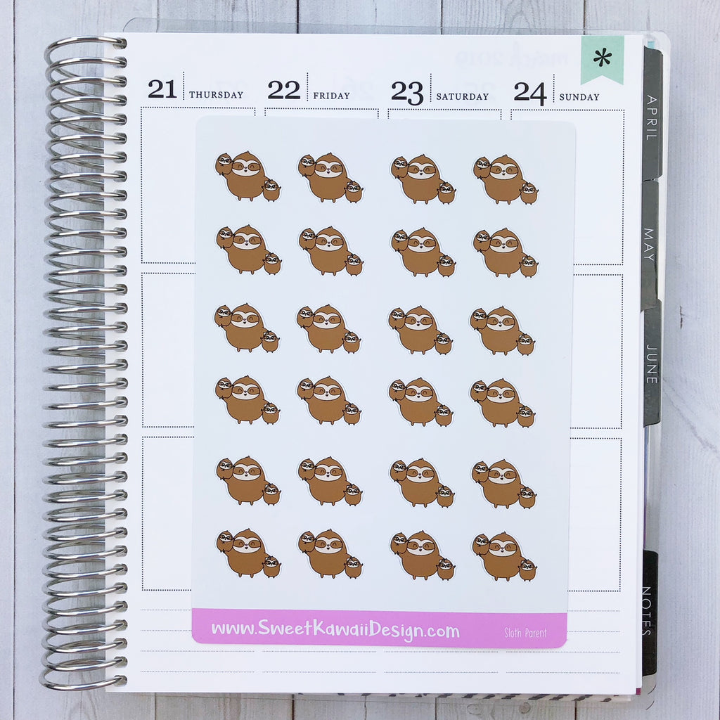 Kawaii Sloth Stickers - Parent
