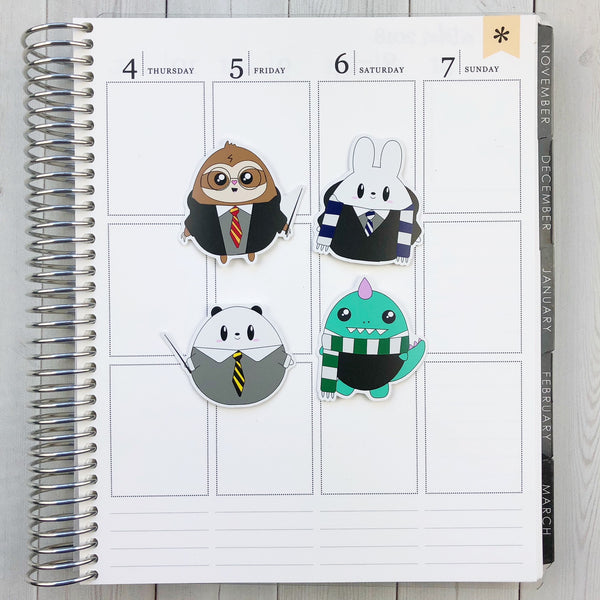 Kawaii Wizard Critters Die Cut Sticker Set