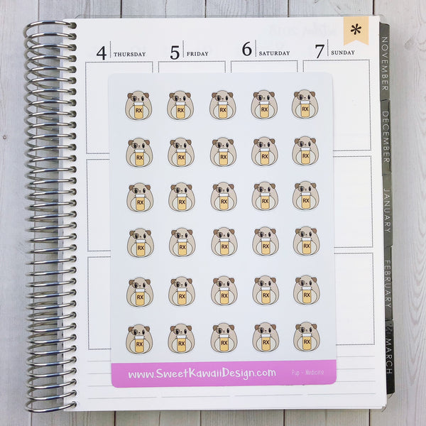 Kawaii Pup Stickers - Medication