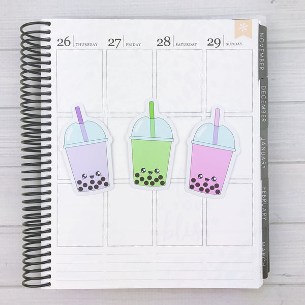 Kawaii Bubble Tea Diecut Sticker Set