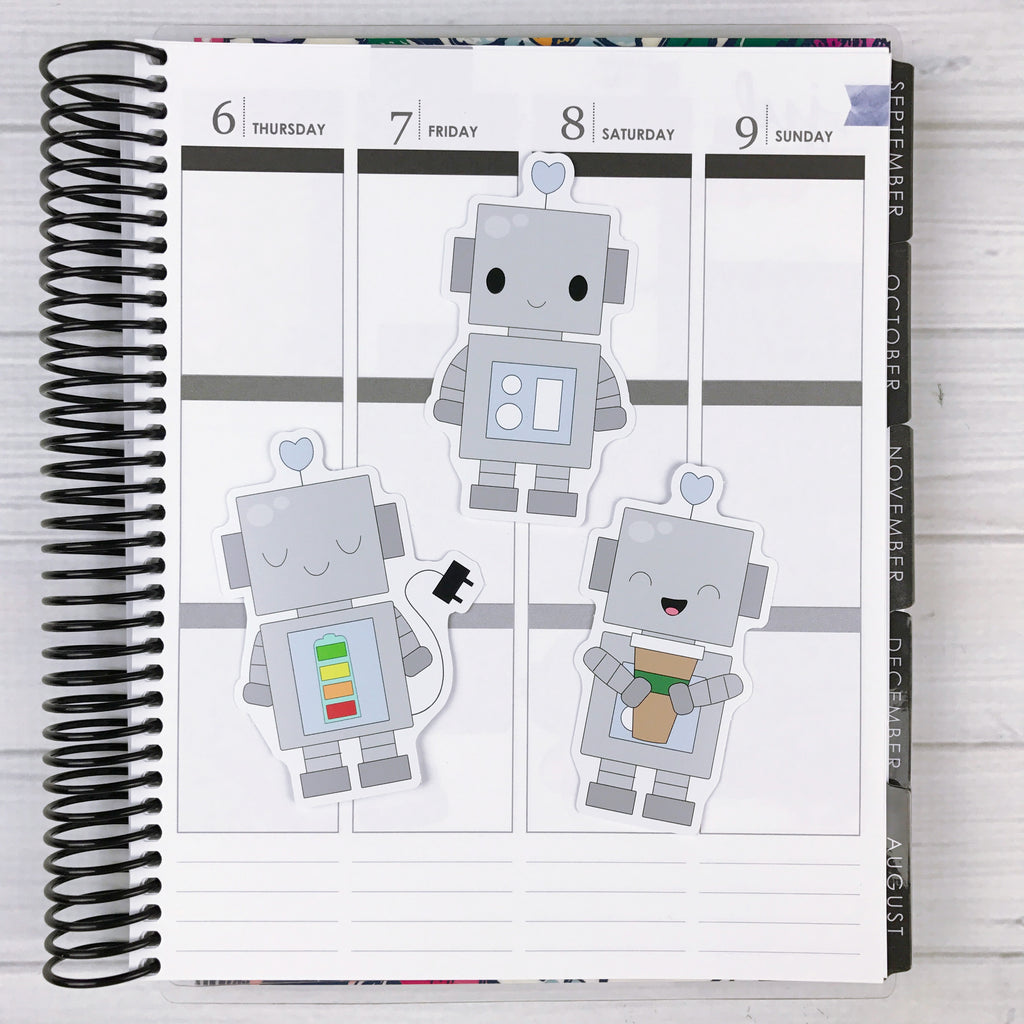 Kawaii Robot Diecut Sticker Set