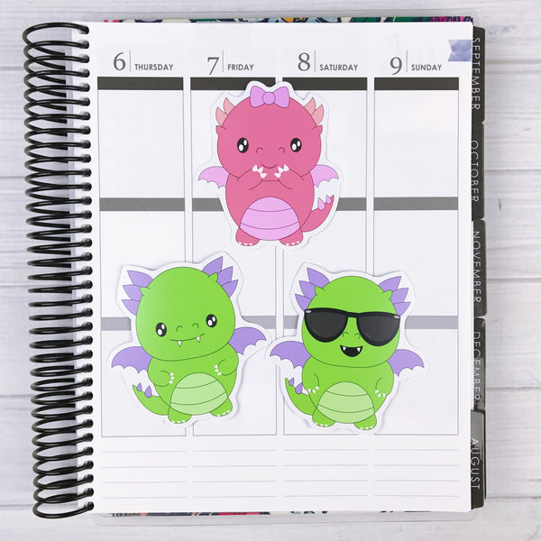 Kawaii Dragon Diecut Sticker Set