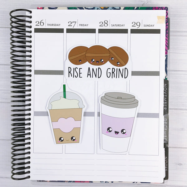 Kawaii Coffee Diecut Sticker Set