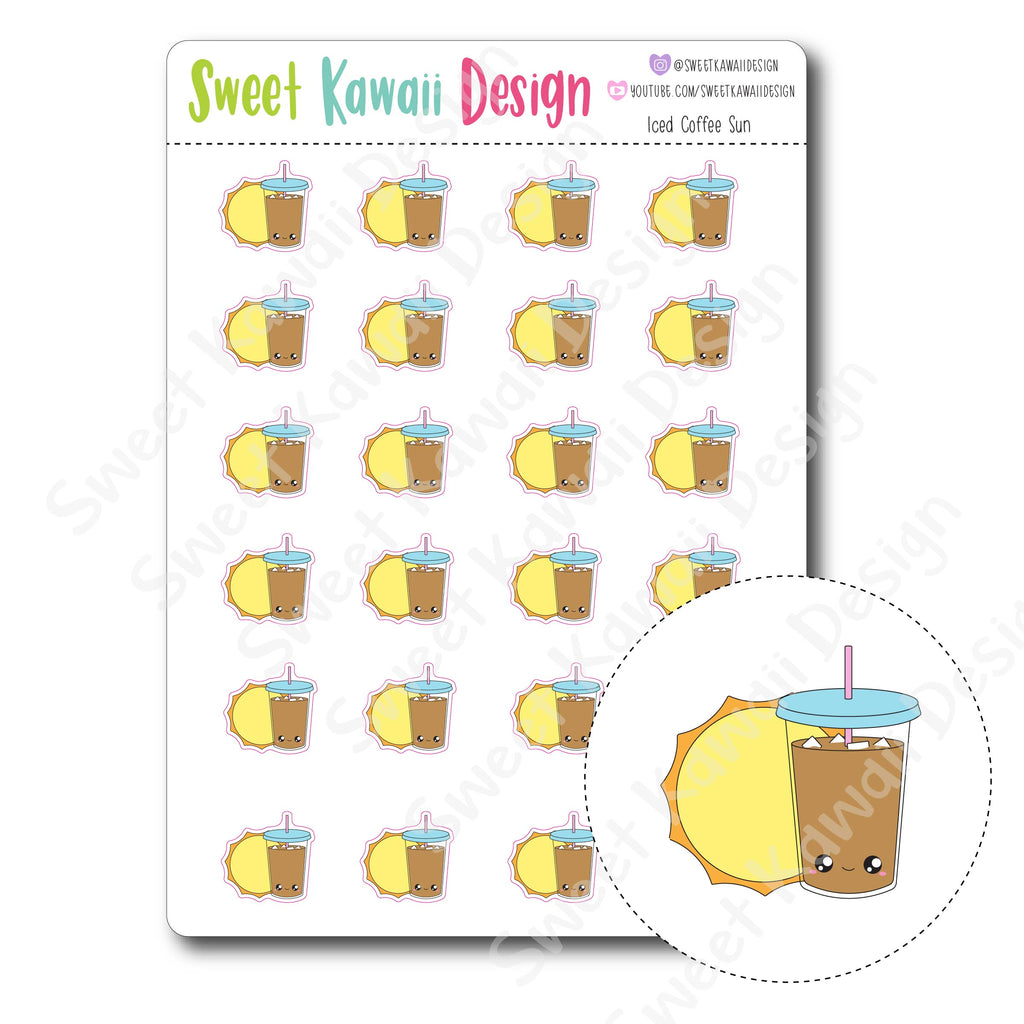 Kawaii Iced Coffee Sun Stickers