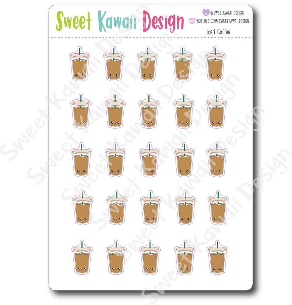 Kawaii Iced Coffee Stickers
