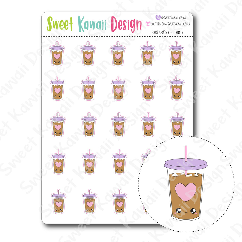 Kawaii Iced Coffee Stickers - Hearts