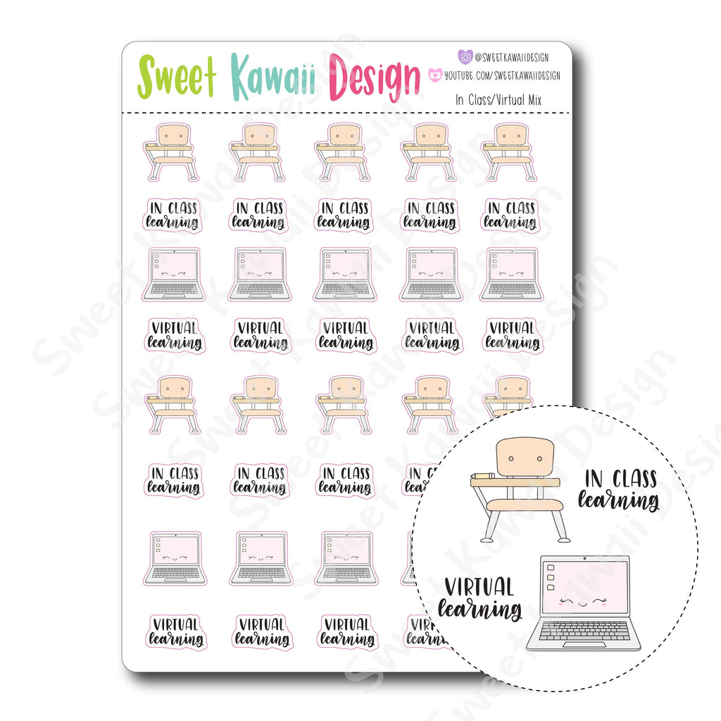 Kawaii In Class/ Virtual Class Mix Stickers