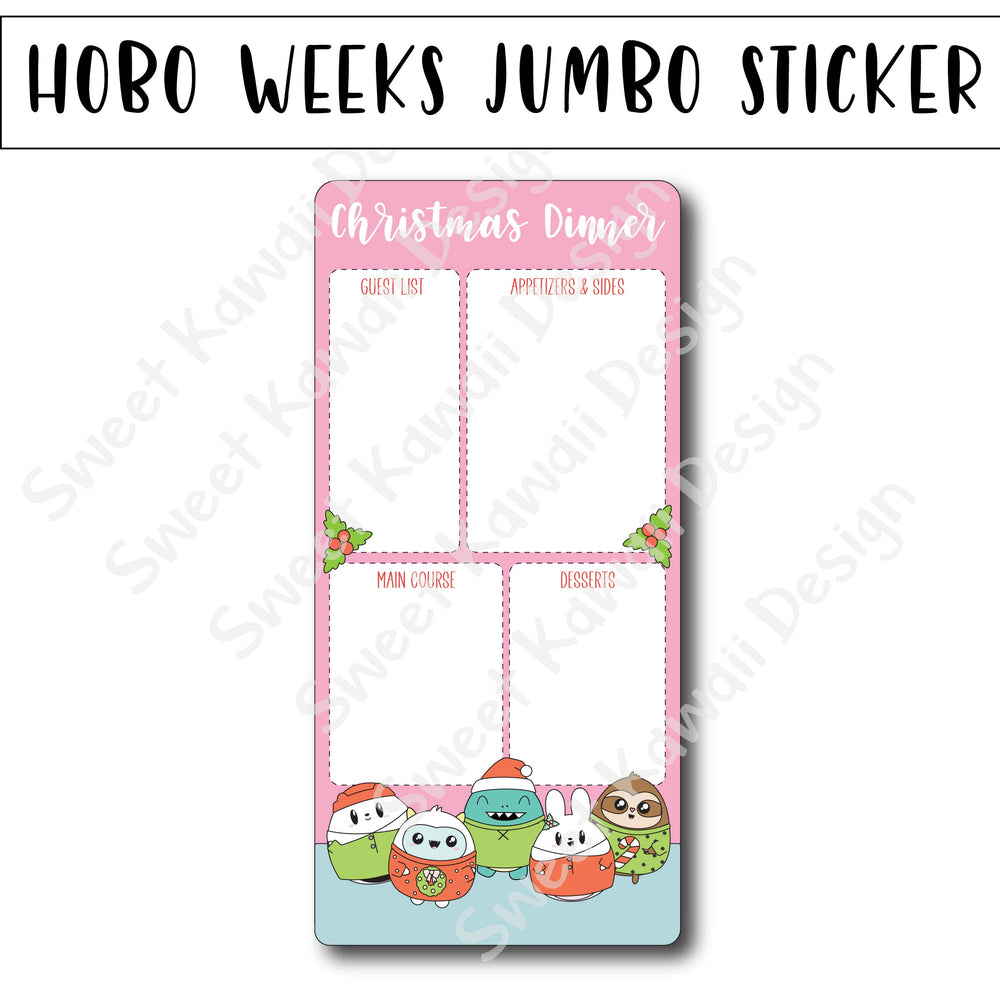 Kawaii Jumbo Sticker - Christmas Dinner - Size Options Available