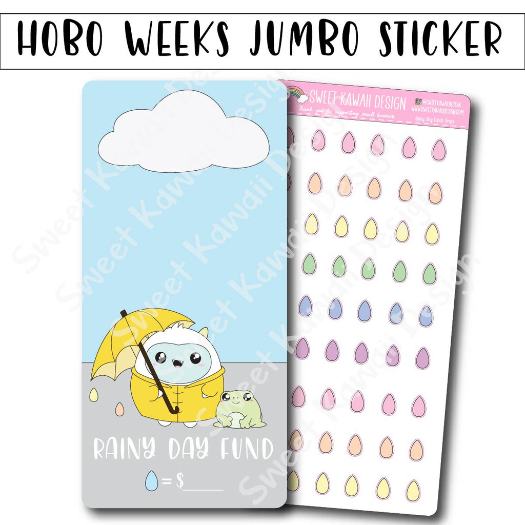 Kawaii Jumbo Sticker - Rainy Day Funds Tracker - Size Options Available