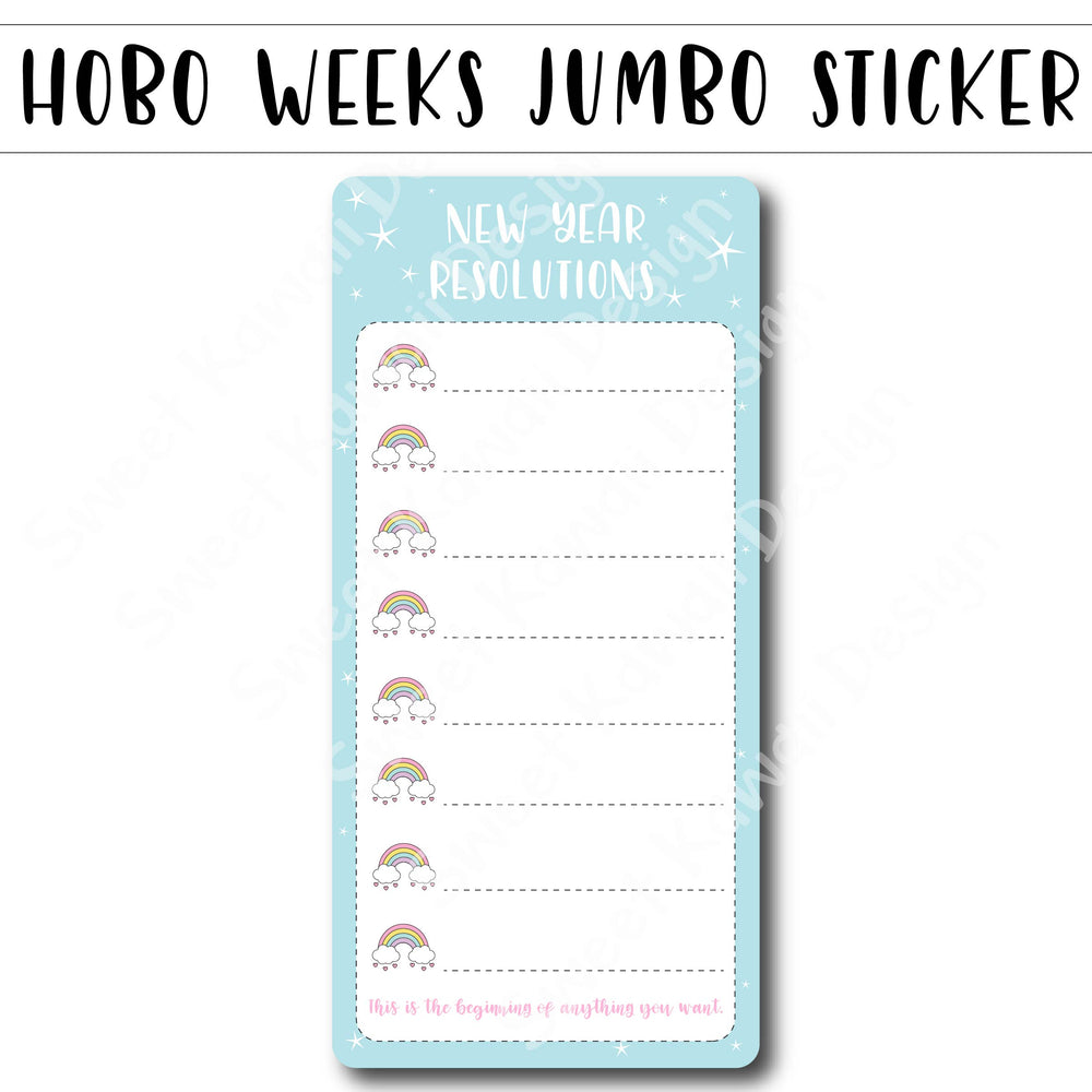 Kawaii Jumbo Sticker - New Year Resolutions - Size Options Available