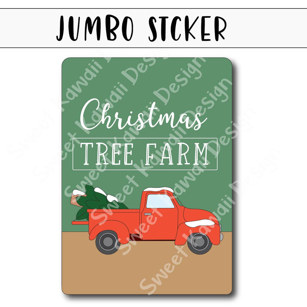 Kawaii Jumbo Sticker - Tree Farm - Size Options Available