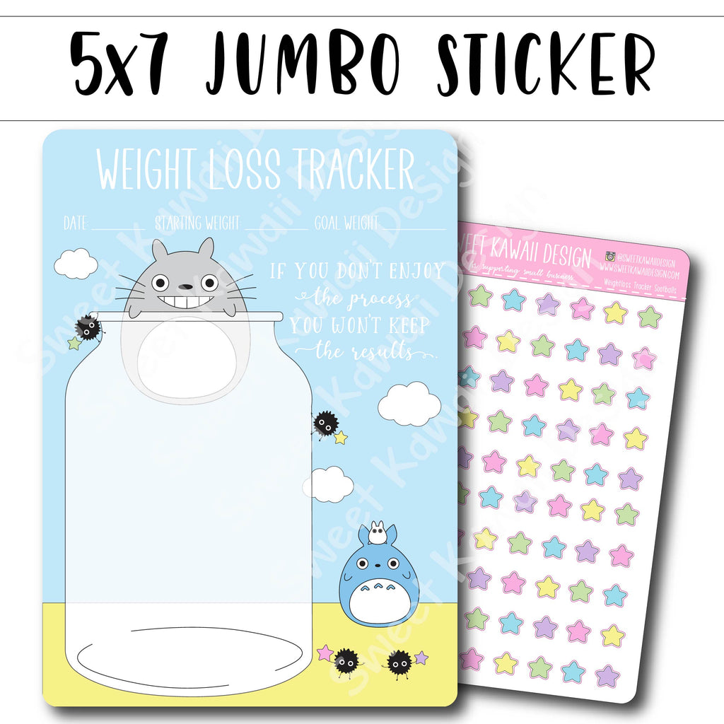 Kawaii Jumbo Sticker - 5x7 Weight Loss Tracker - Sootballs