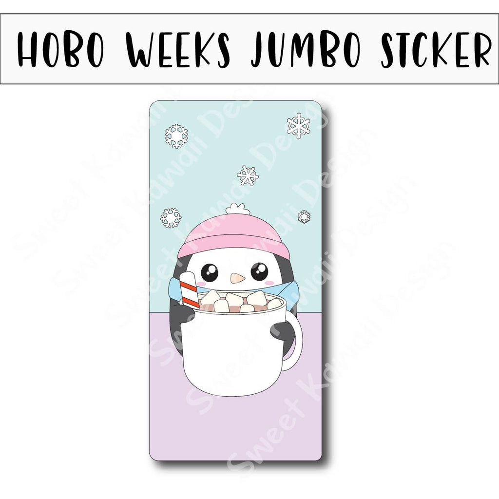 Kawaii Jumbo Sticker - Penguin Cocoa - Size Options Available