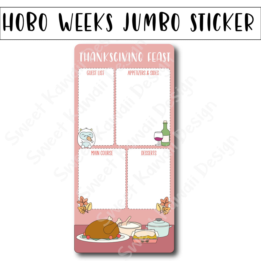 Kawaii Jumbo Sticker - Thanksgiving Feast - Size Options Available