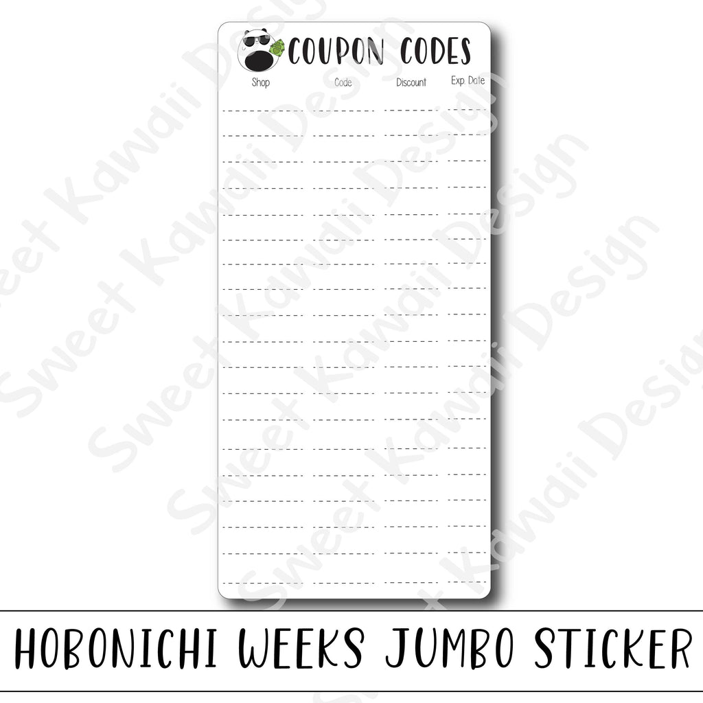 Kawaii Jumbo Sticker - Coupon Code - Size Options Available