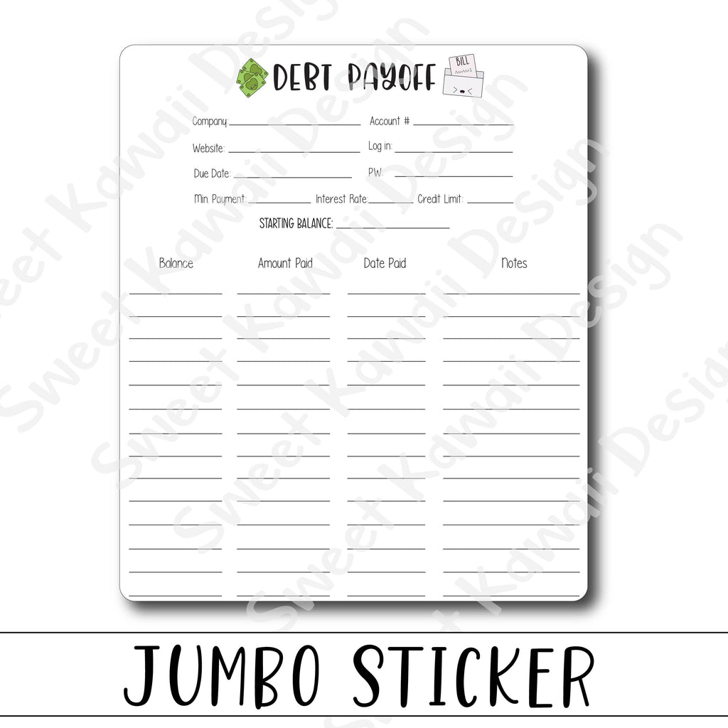 Kawaii Jumbo Sticker - Debt Tracker