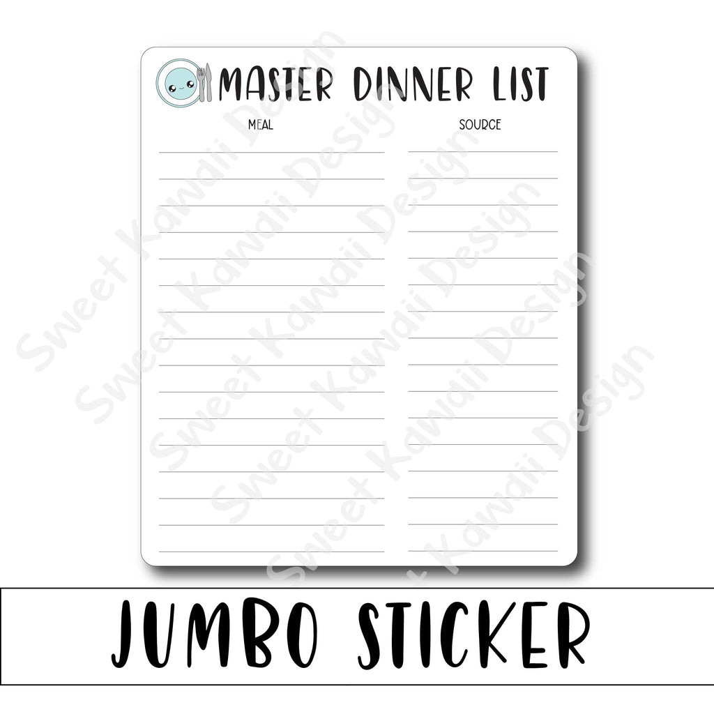 Kawaii Jumbo Sticker - Master Dinner List - Size Options Available