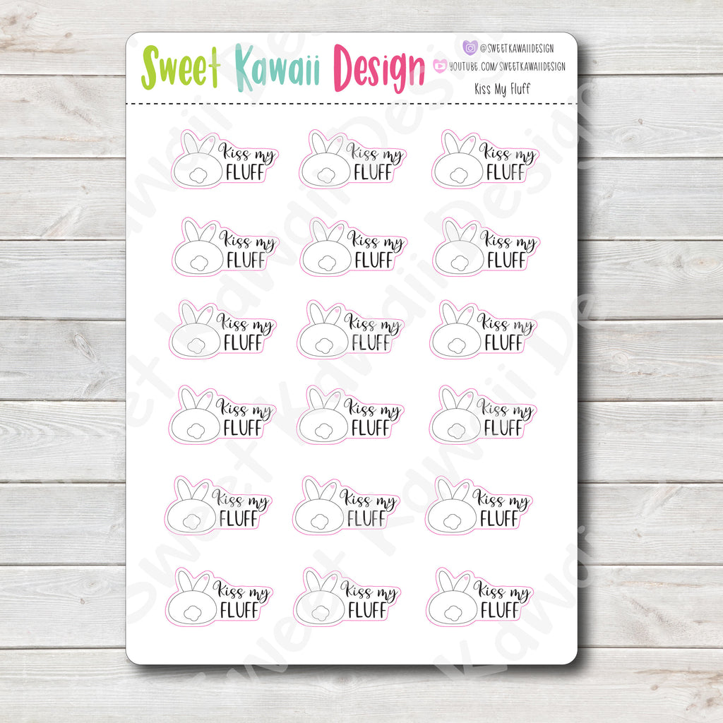 Kawaii Kiss My Fluff Stickers
