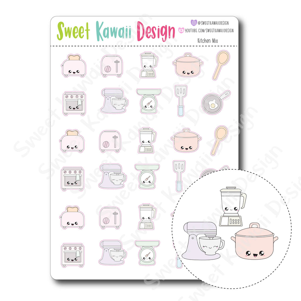 Kawaii Kitchen Mix Stickers