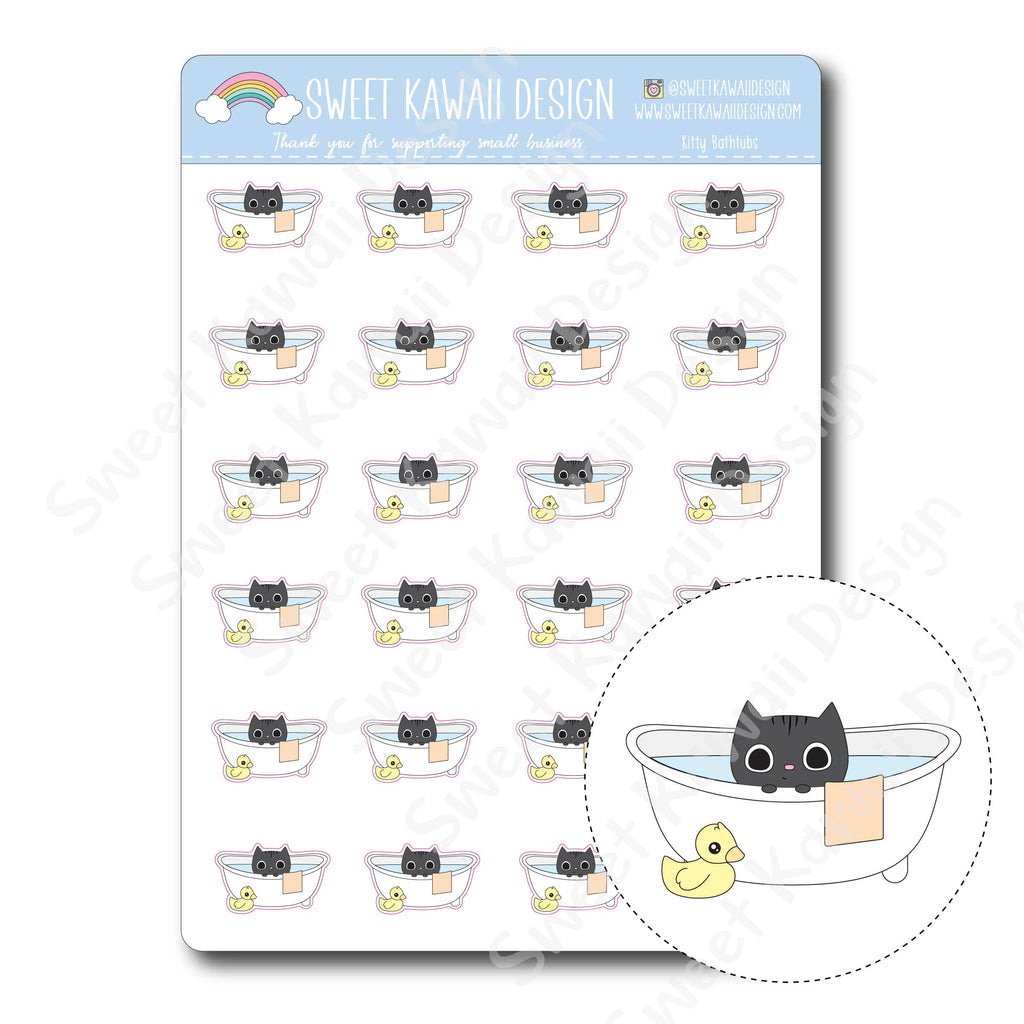 Kawaii Kitty Bathtub Stickers