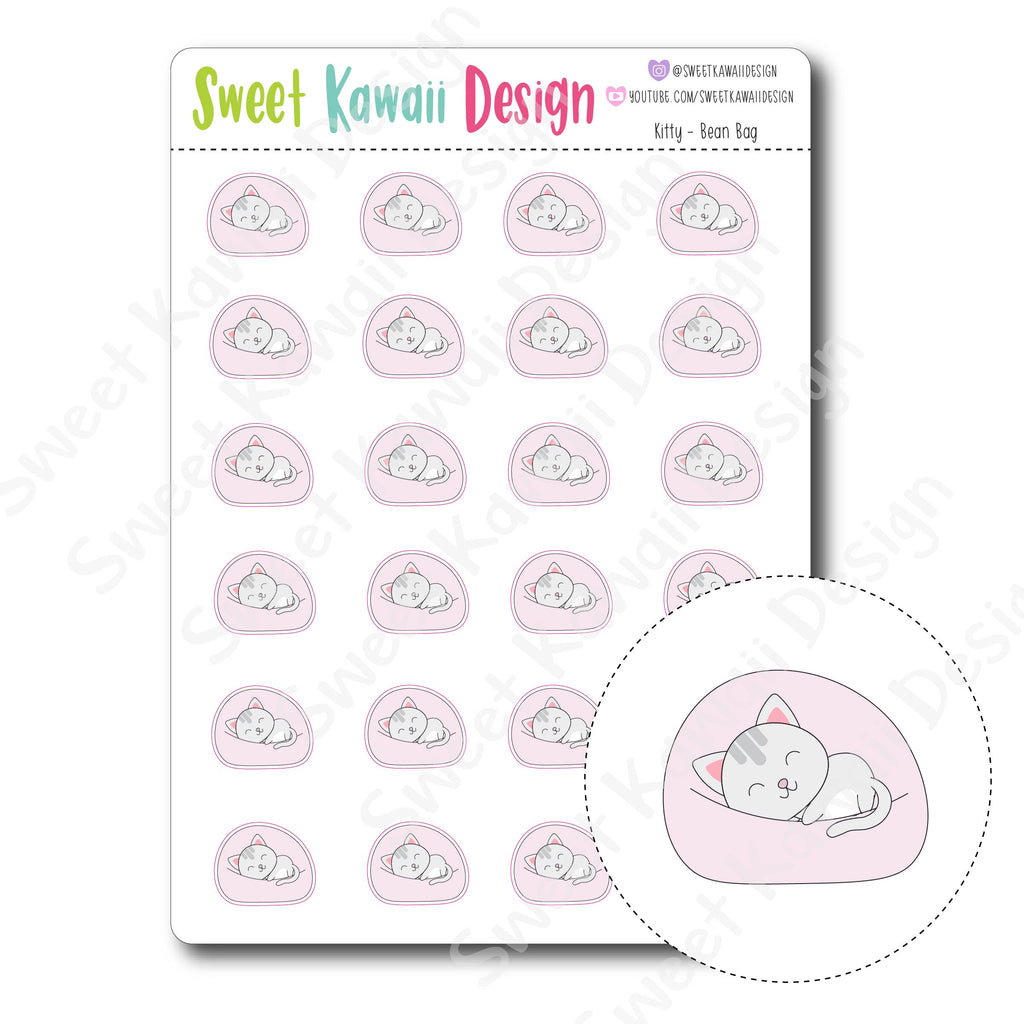 Kawaii Kitty Stickers - Bean Bag