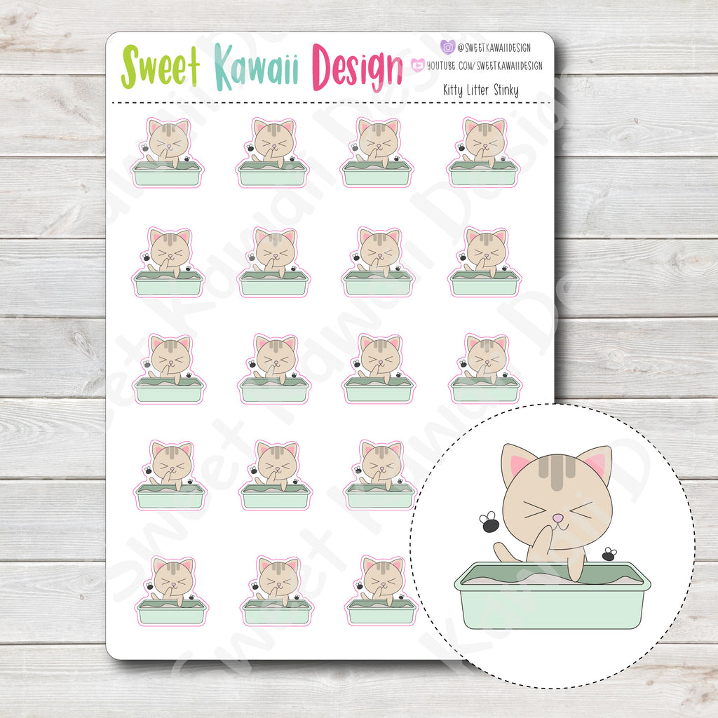 Kawaii Kitty Litter Stickers - Stinky