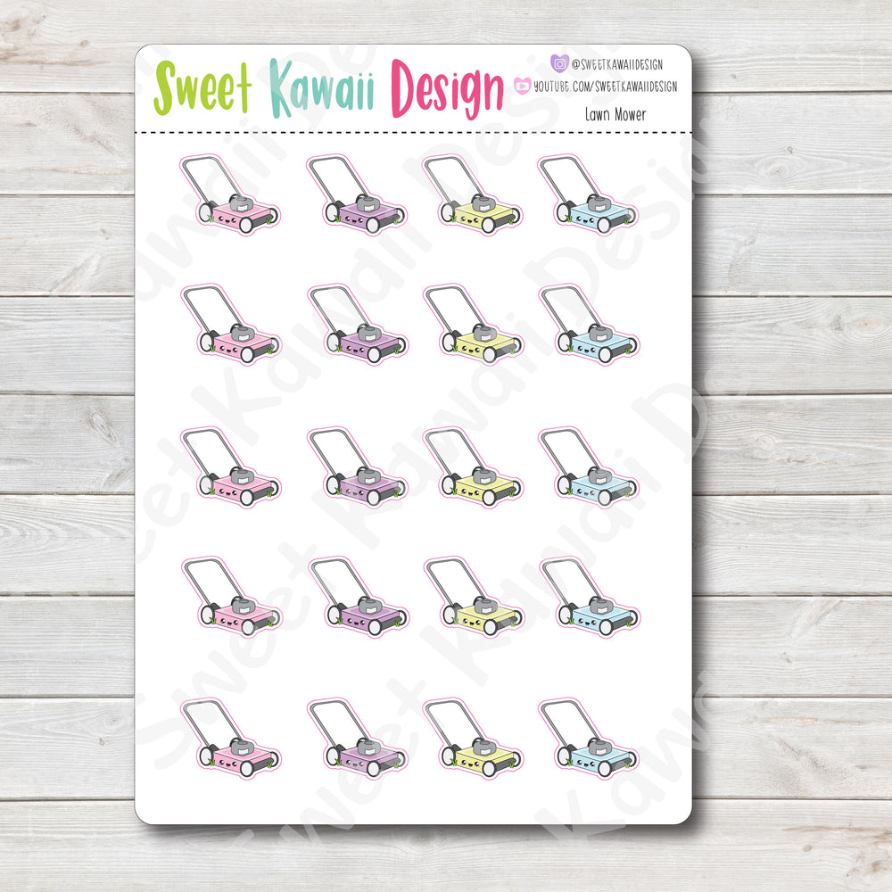 Kawaii Lawn Mower Stickers