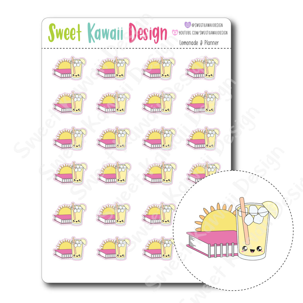 Kawaii Lemonade and Planner Stickers