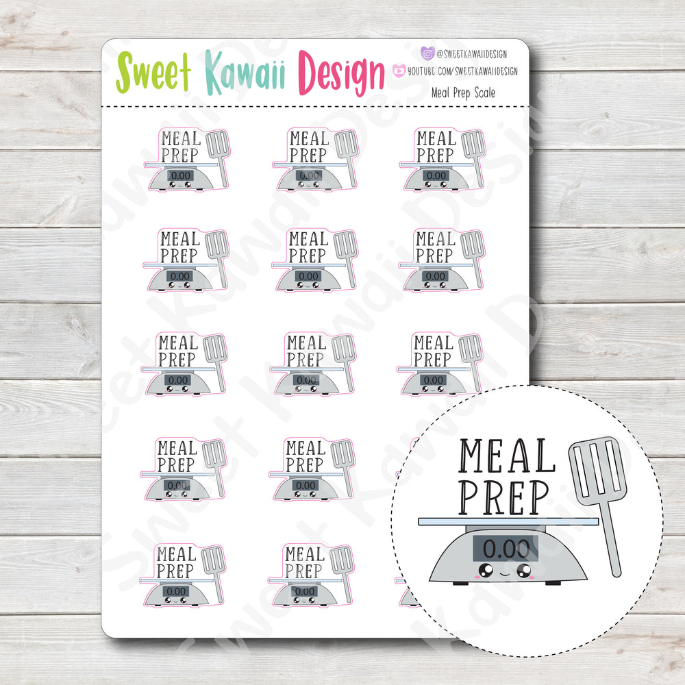 Kawaii Meal Prep (Scale) Stickers