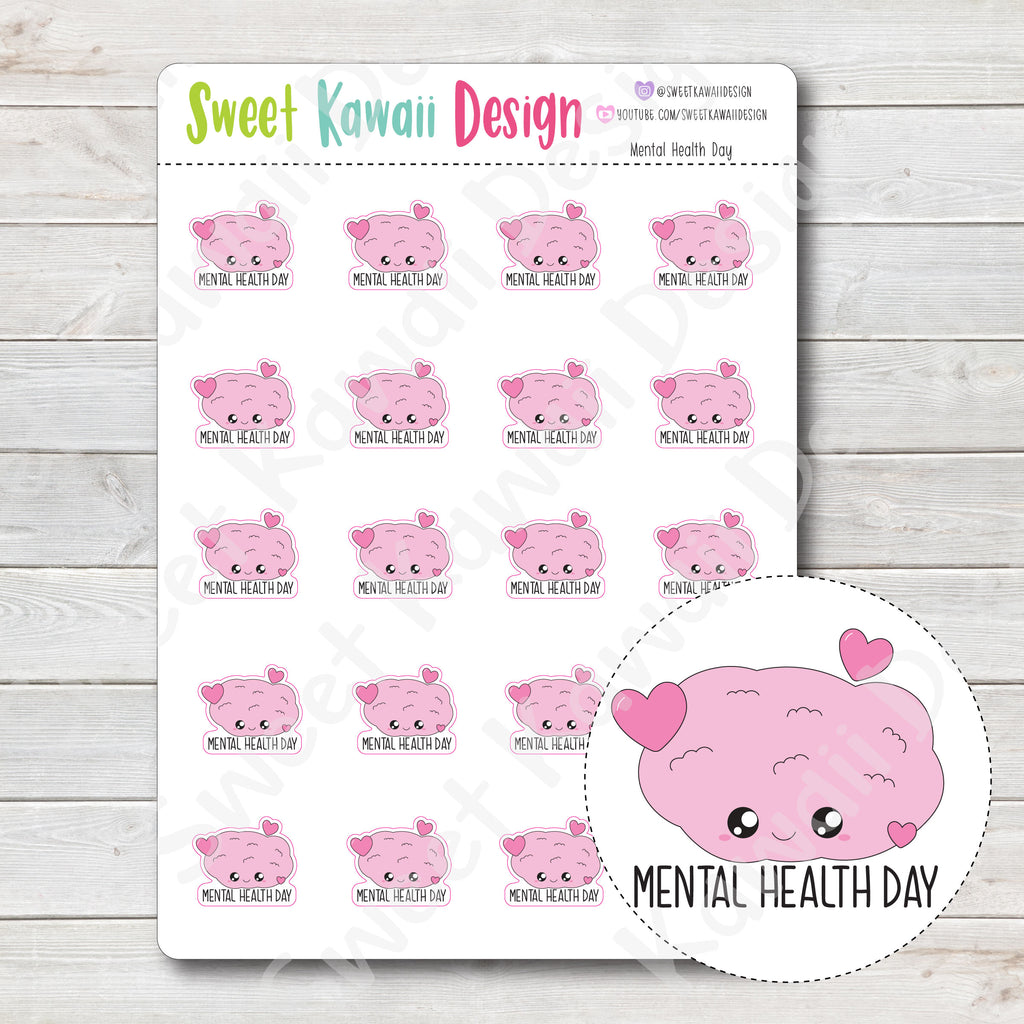 Kawaii Mental Health Day Stickers