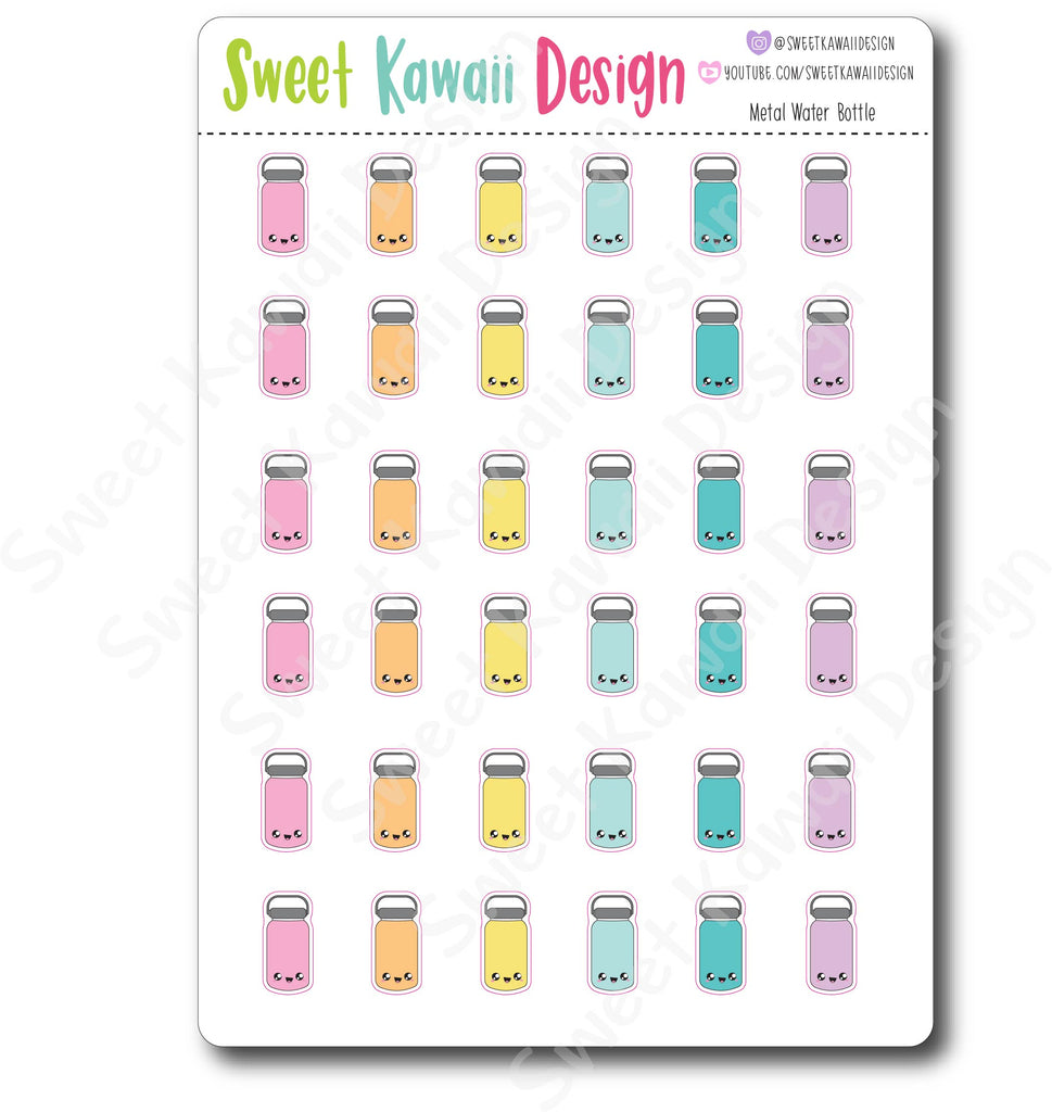 Kawaii Metal Water Bottle Stickers