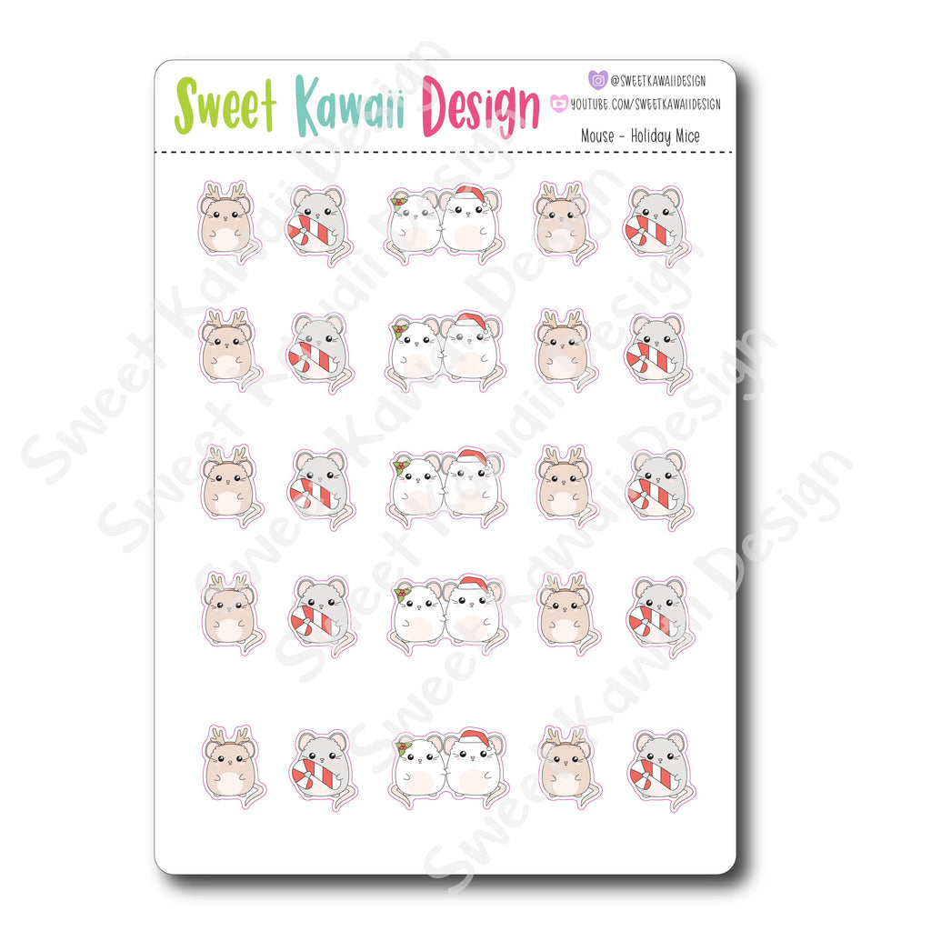 Kawaii Mouse Stickers - Holiday Mice