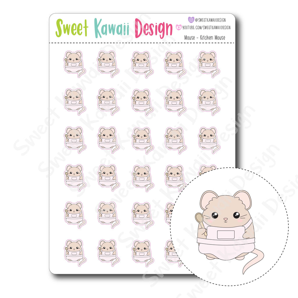 Kawaii Mouse Stickers - Kitchen Mouse