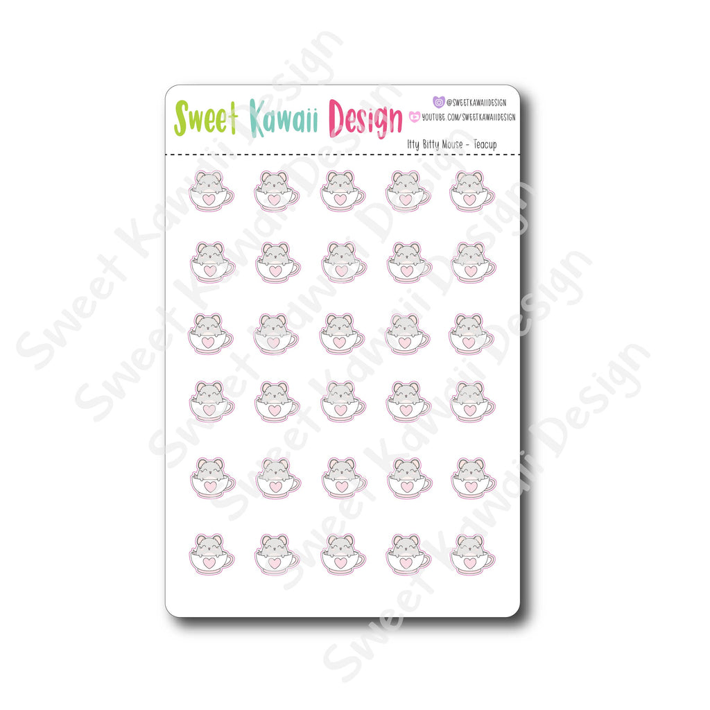 Kawaii Mouse Stickers - Tea cup