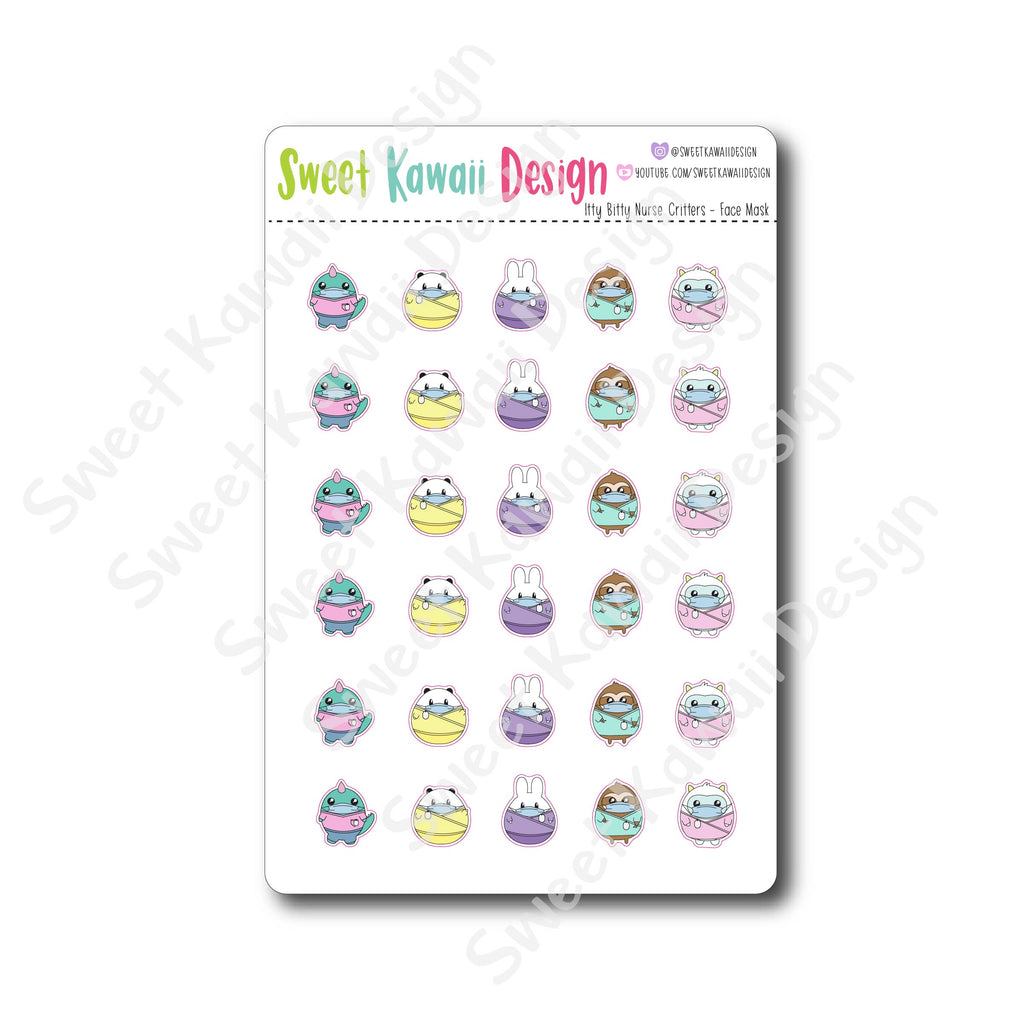 Kawaii Nurse Critters Stickers - Face Mask