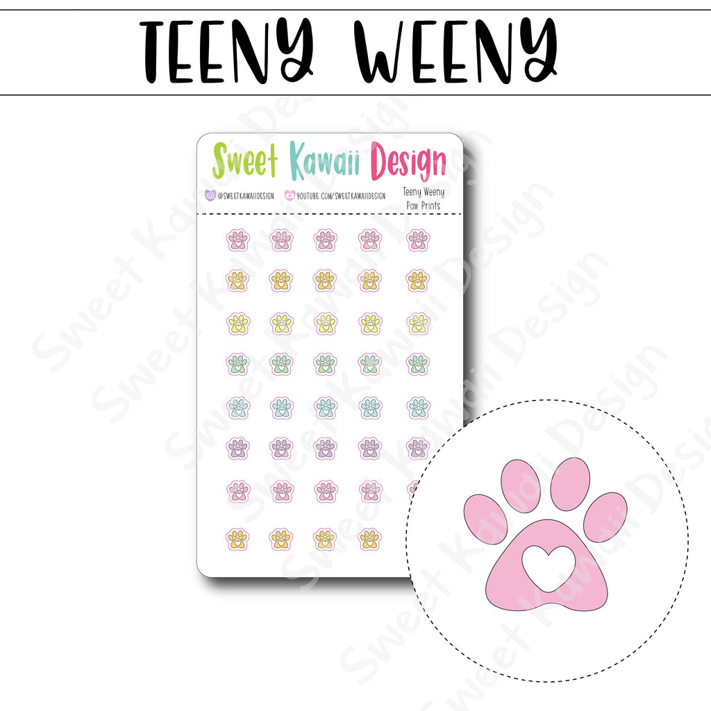 Teeny Weeny Paw Print Stickers