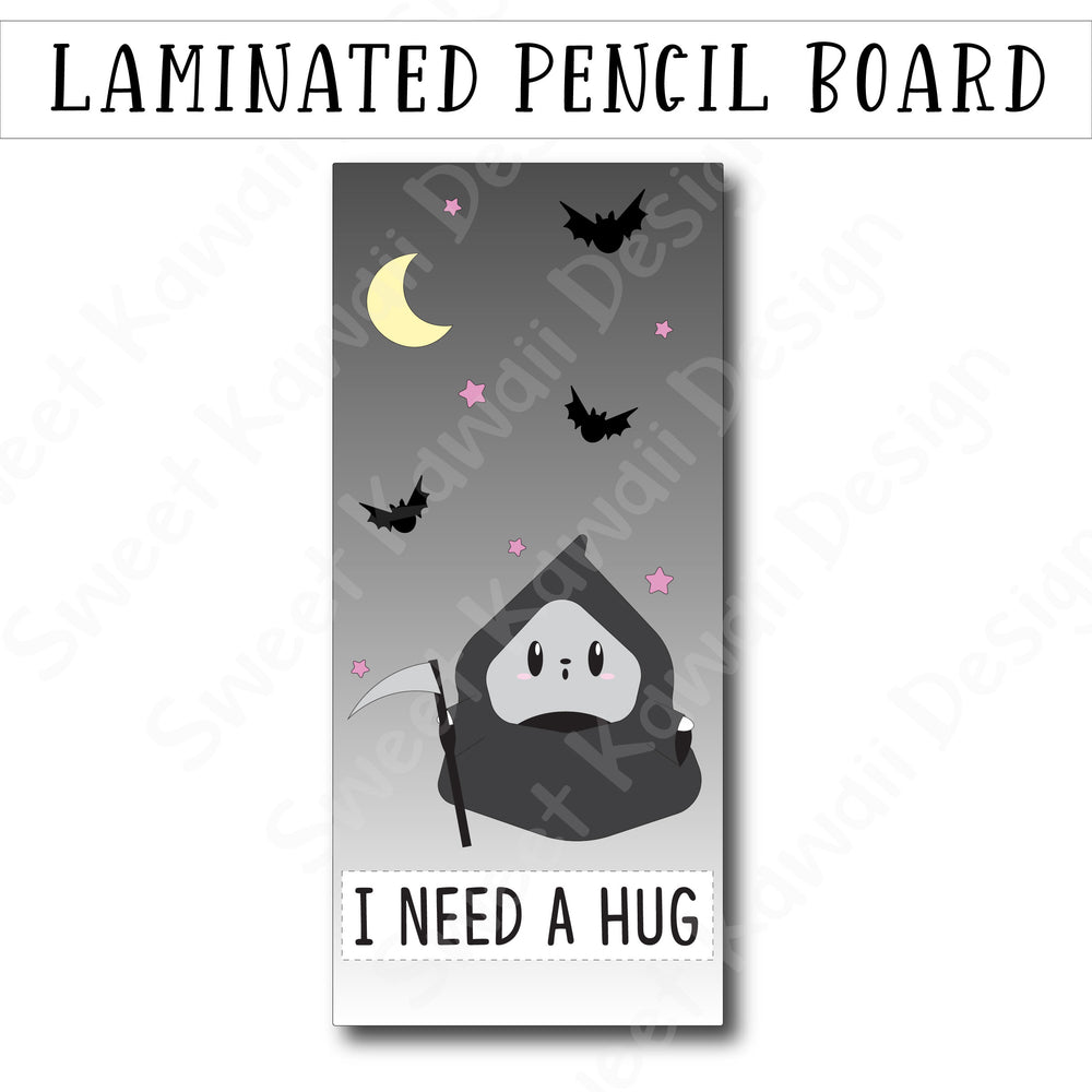 Kawaii Grim Poe Laminated Pencil Board - Hobo Weeks
