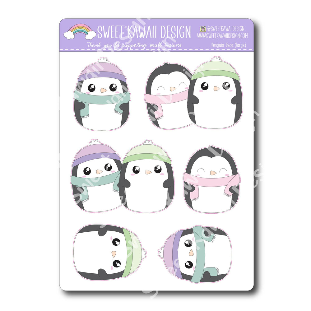 Kawaii Penguin Deco (Large) Stickers