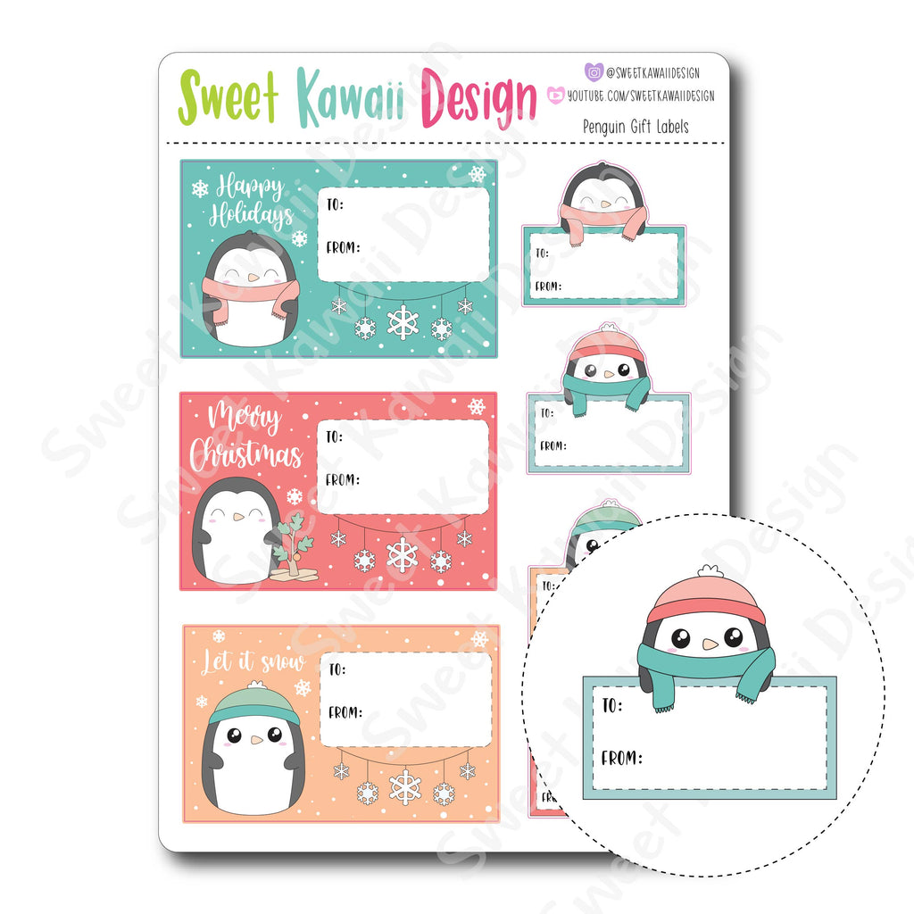 Kawaii Penguin Gift Labels