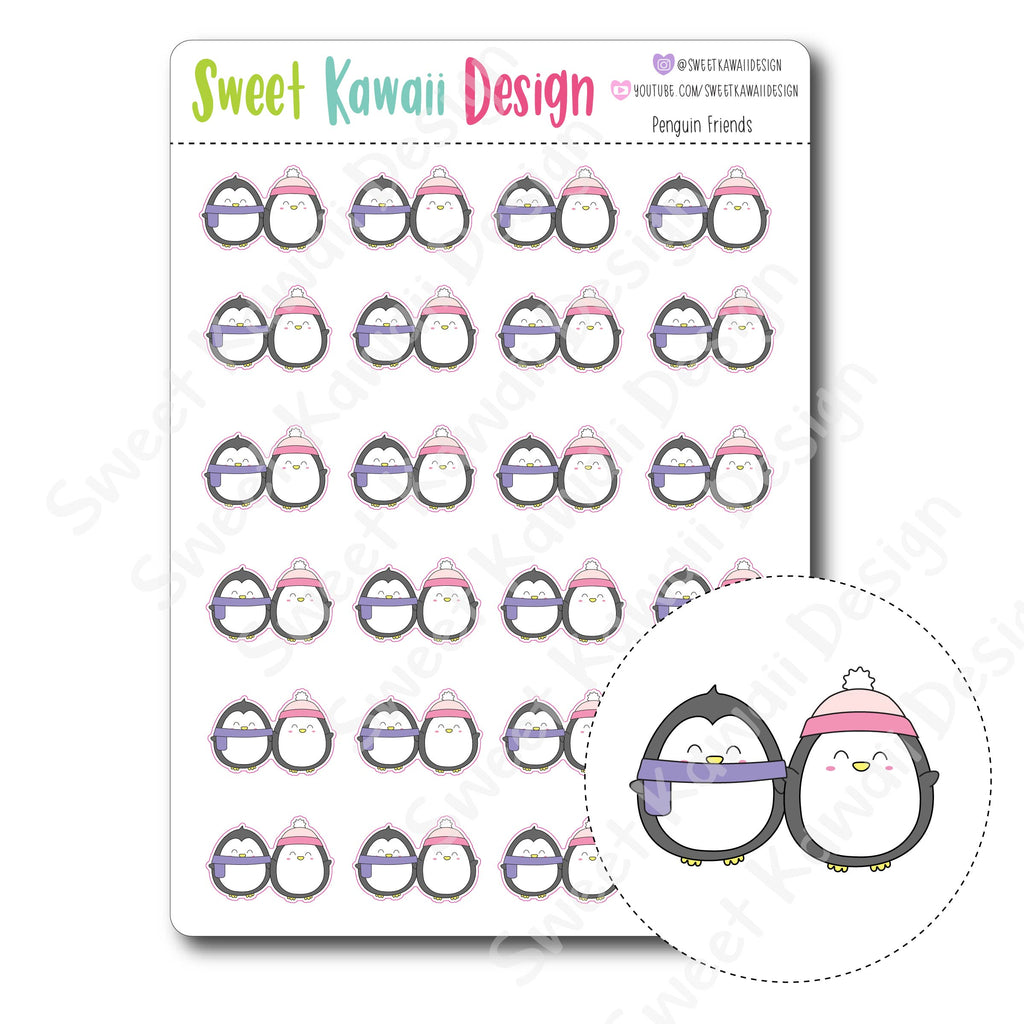 Kawaii Penguin Friends Stickers