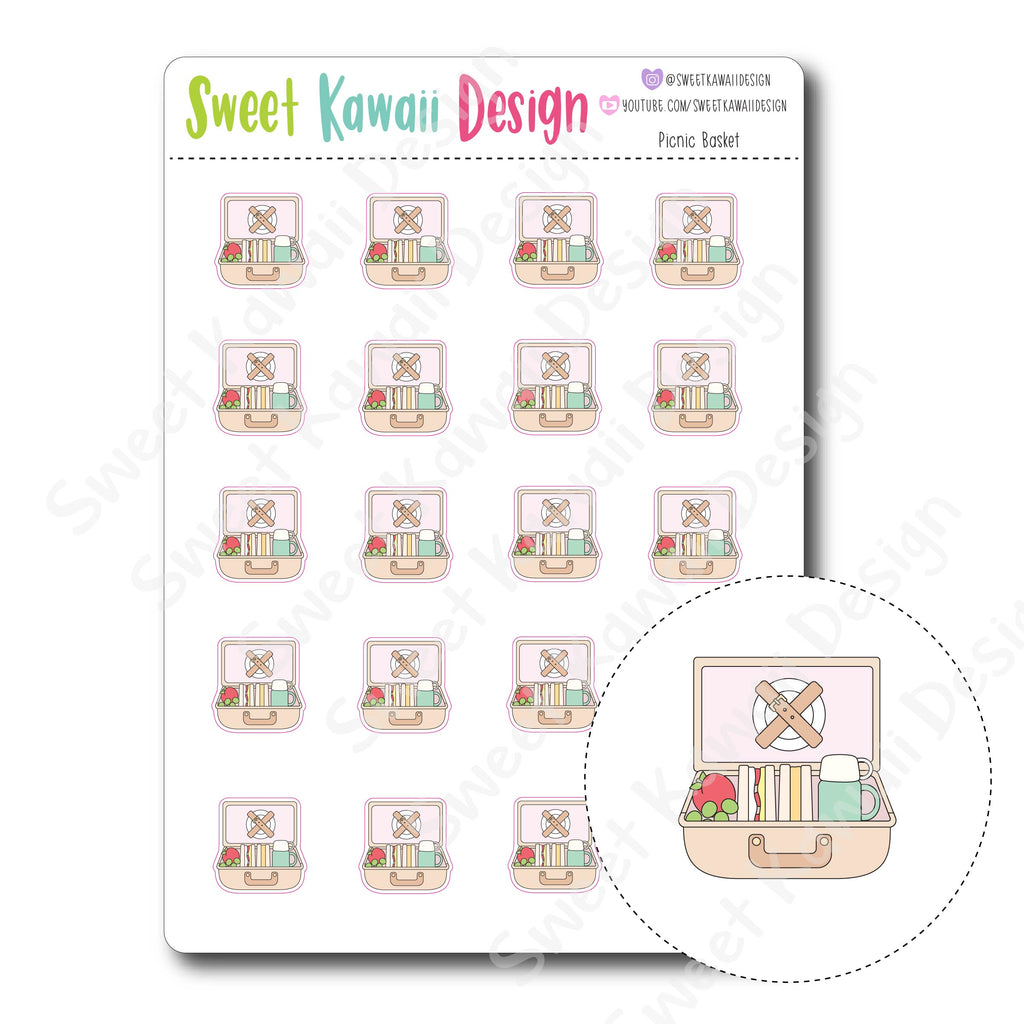 Kawaii Picnic Basket Stickers