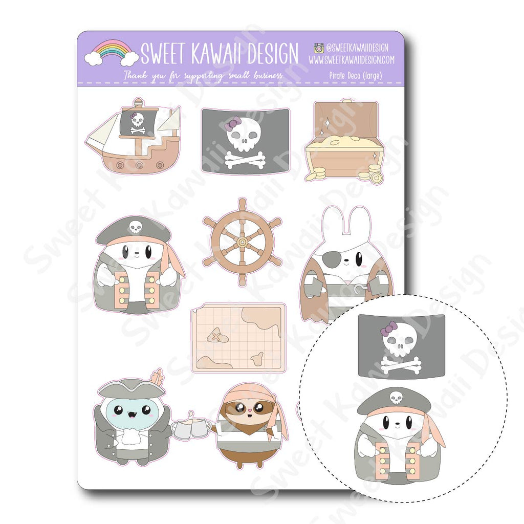 Kawaii Pirate Deco (Large) Stickers