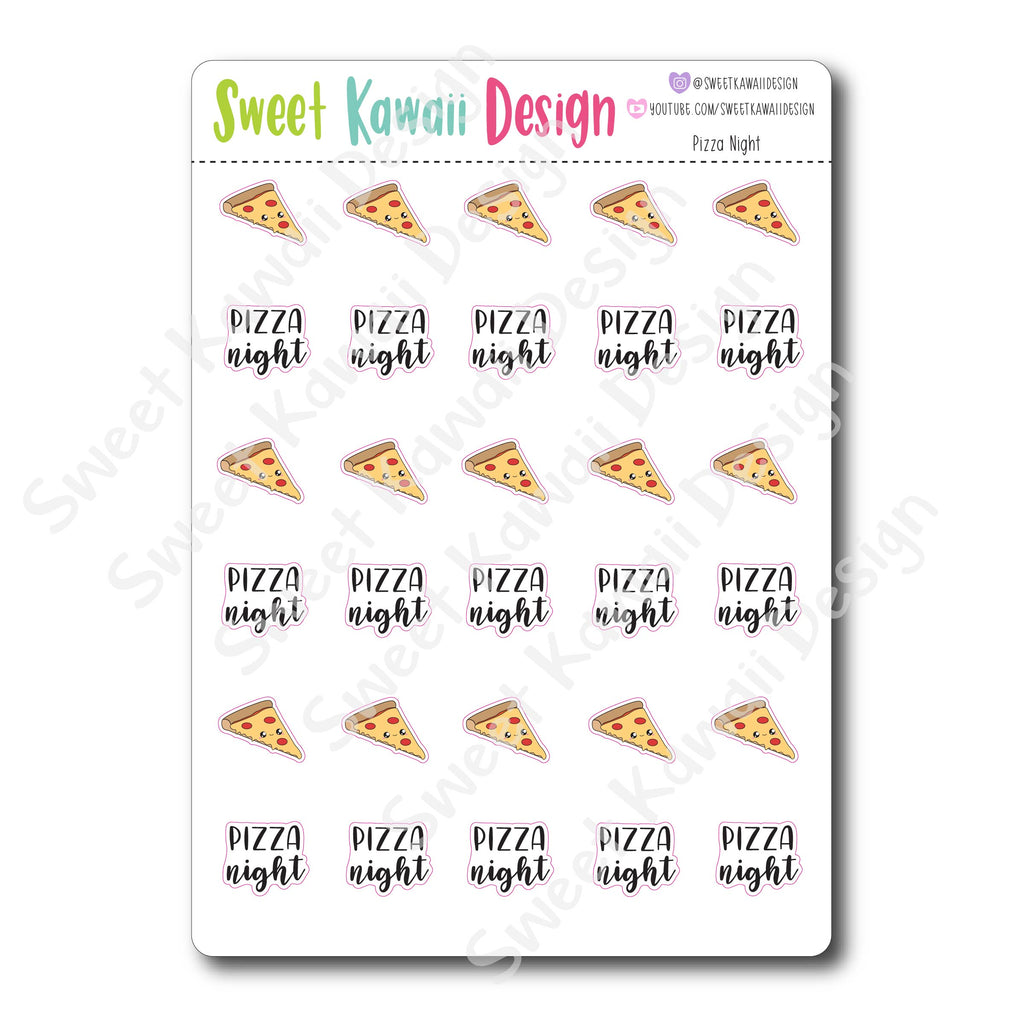Kawaii Pizza Night Stickers
