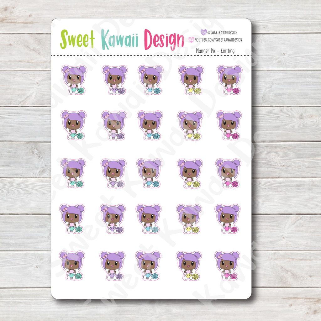 Kawaii Planner Pix Stickers - Knitting