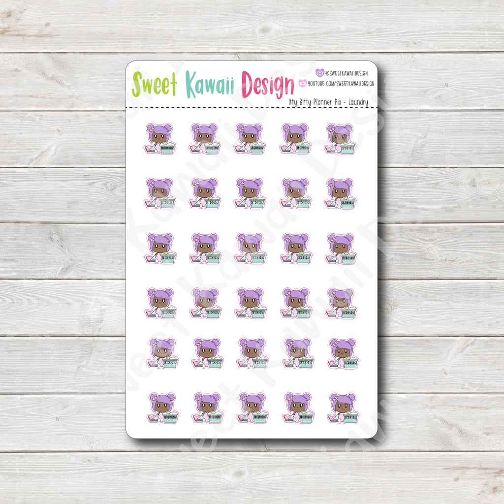 Kawaii Planner Pix Stickers - Laundry
