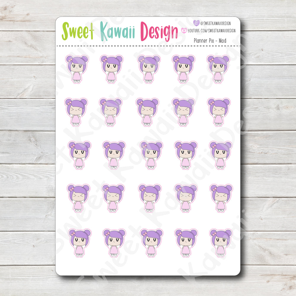 Kawaii Planner Pix Stickers - Mad