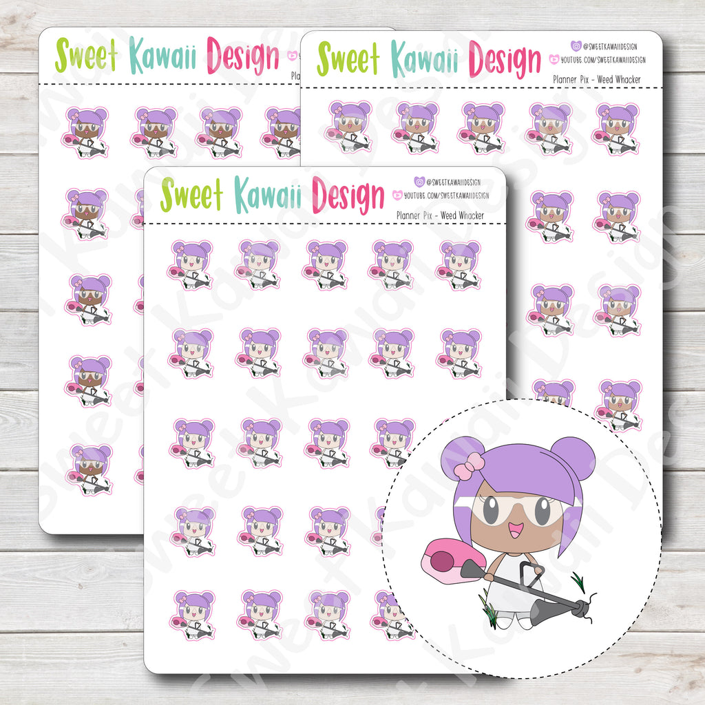 Kawaii Planner Pix Stickers - Weed Whacker