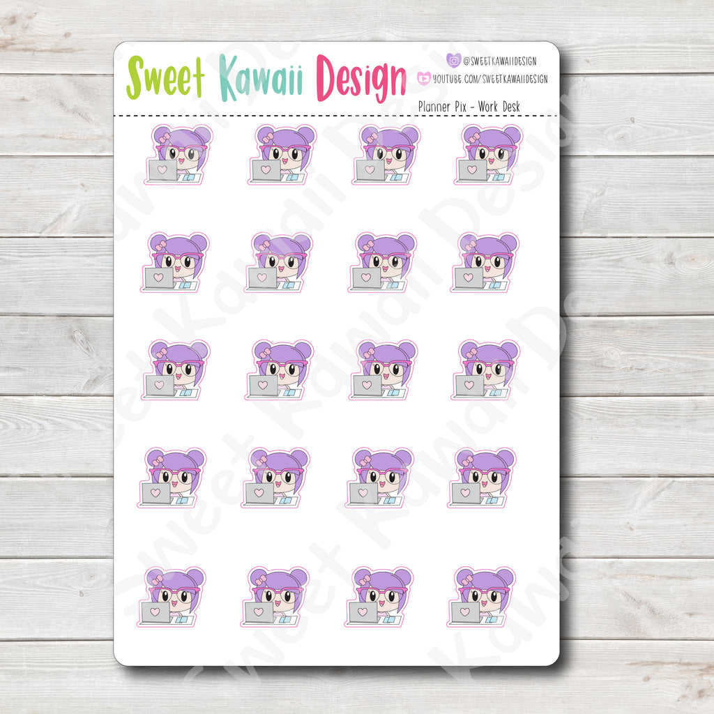 Kawaii Planner Pix Stickers - Work Desk